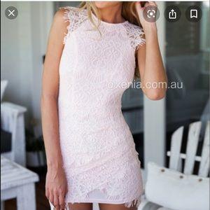 XENIA light pink lace dress